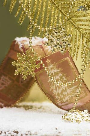 golden snowflakes on Christmas tree Stock Photo - 2456493