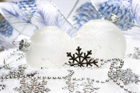 white festive decoration on snow  Stock Photo - 2456470