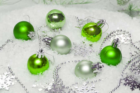 green festive decoration on snow  Stock Photo - 2456468