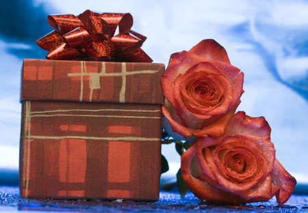gift box and red roses  photo