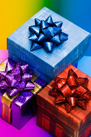 blue, red and violet gift boxes  photo