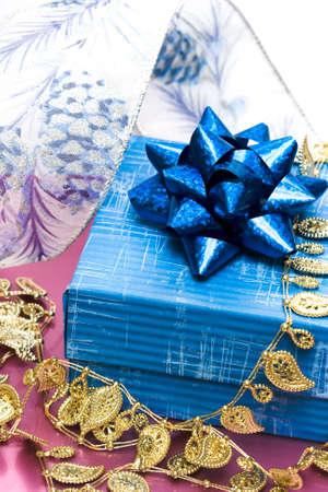 blue gift box with ribbon Stock Photo - 3079306