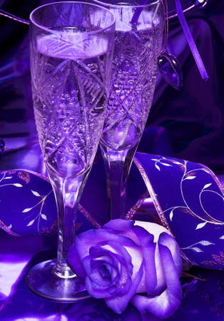 celebration table, rose and glasses with champagne  photo