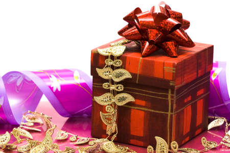 red gift box with ribbon  photo