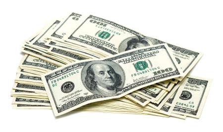 one hundred dollars: one hundred dollars on white background