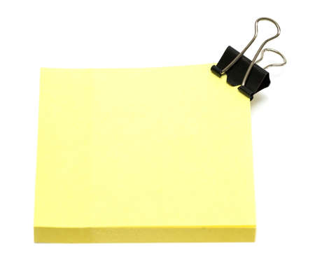 yellow pages of notebook on white  photo
