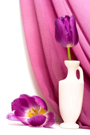 violet flowers in vase with fabric  photo