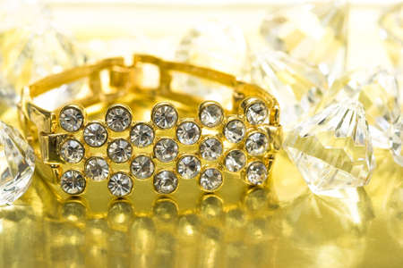 golden bracelet with many diamonds Stock Photo - 3173919