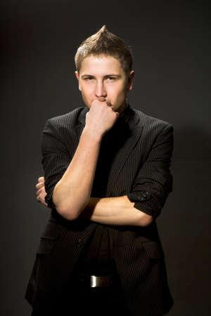 attractive businessman in black shirt  Stock Photo - 3174050