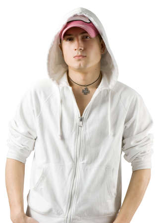 attractive modern man in white clothes  Stock Photo - 3174038