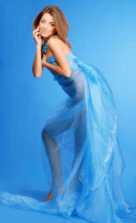 beautiful woman in blue dress  photo