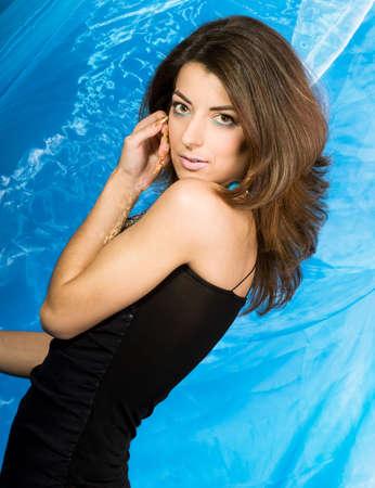 beautiful woman in black dress  Stock Photo - 3297152