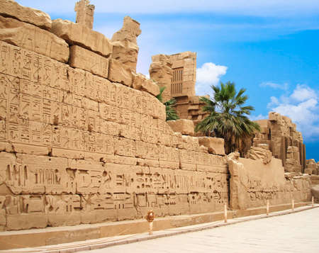 wall with hieroglyphs in Egypt  photo