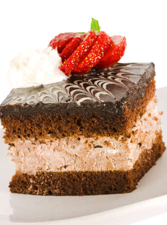 piece of chocolate cake with strawberry  photo