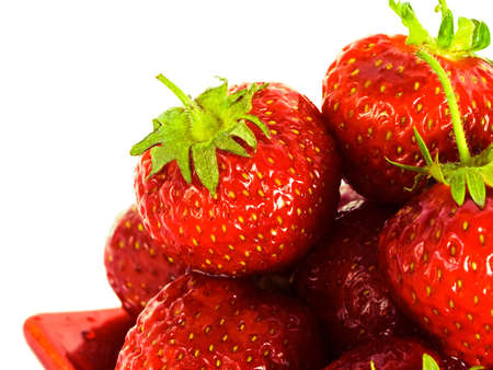 strawberry on red plate over white background Stock Photo - 3297148
