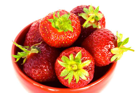 strawberry on red plate over white background Stock Photo - 3297178