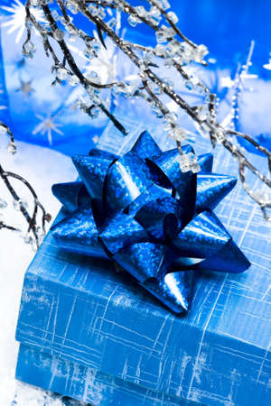 adorn: blue gift box and branch of winter tree  Stock Photo