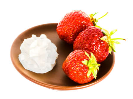 strawberry on plate over white background Stock Photo - 3297215