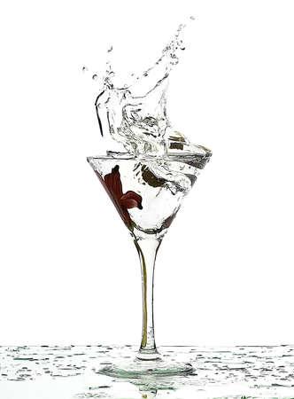 splash of fluid in a glass  Stock Photo