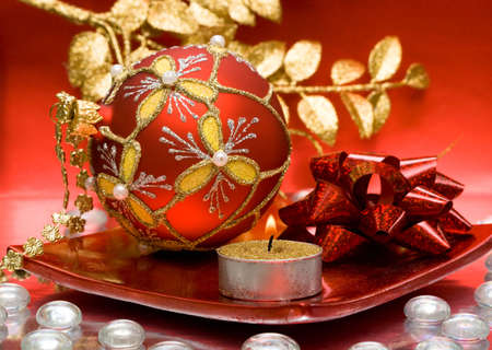 festive candle with Christmas ball  Stock Photo - 3383198