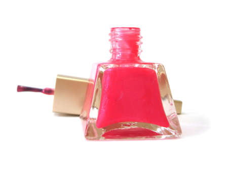 pink nail polish on white background  Stock Photo - 3423436