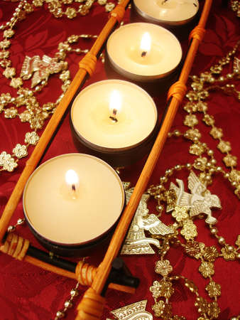 row of candles with decoration  Stock Photo - 3423798