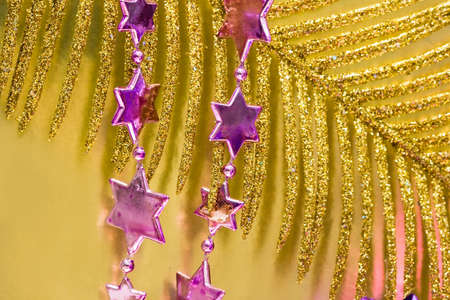 pink new-year stars and Christmas tree Stock Photo - 3423820