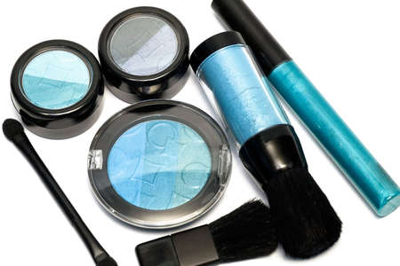 blue set for make-up, eyeshadows, rouge, blusher and gloss  photo