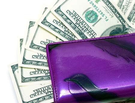fondos violeta: billetera de cuero con cien d�lares
