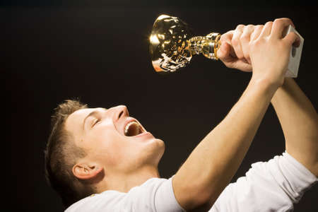 man is glad the won cup