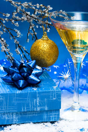 glass with champagne and gift box Stock Photo - 3584386