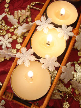 row of candles with decoration  Stock Photo - 3711186