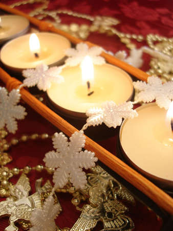 row of candles with decoration snowflake  Stock Photo - 3711160