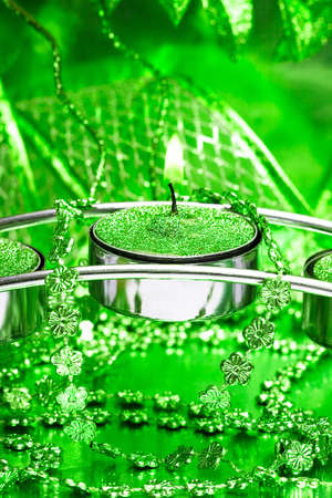 festive candle with green ribbon Stock Photo - 3711213