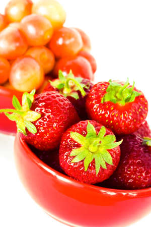 strawberry and chery on red plates Stock Photo - 3711198