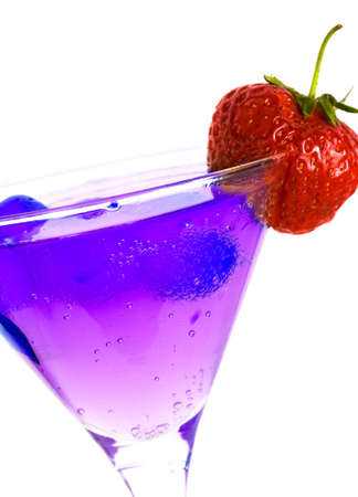 strawberry with glass of juice isolated  photo