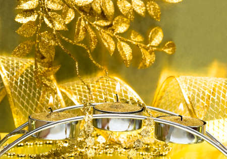 festive candles with golden ribbon Stock Photo - 3711242