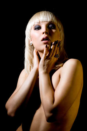beautiful girl on black background Stock Photo - 3709894