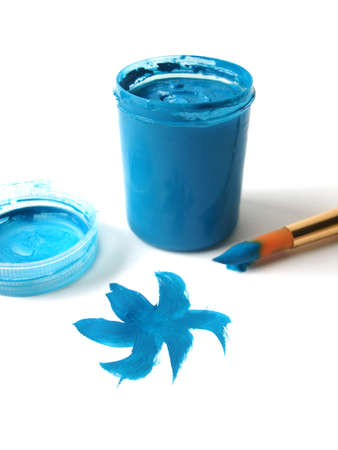 Brush and blue paint jar with gouache  Stock Photo - 3916596