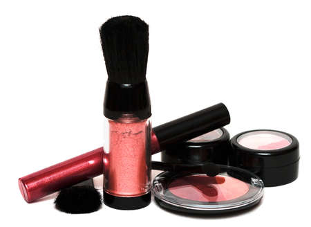 red set for make-up, eyeshadows, rouge, blusher and gloss  photo
