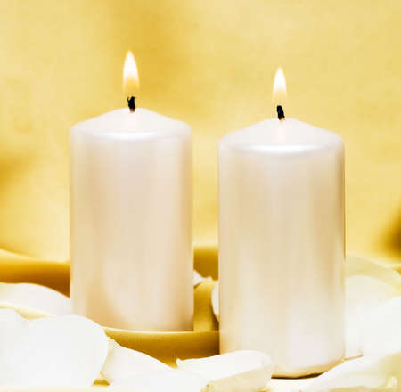 Candles with flower on golden background Stock Photo - 3916666