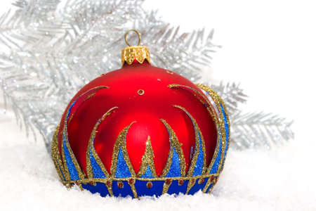 red Christmas ball and winter tree  photo