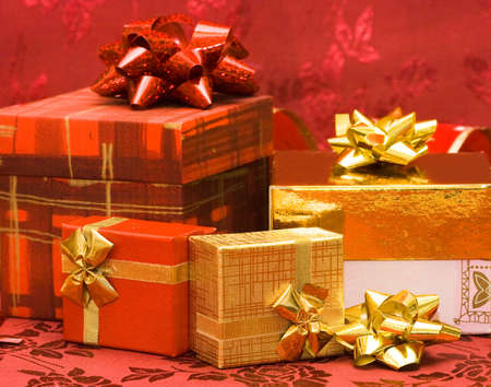 red and golden gift boxes with bow  photo