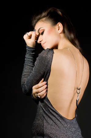 pretty woman on black background  Stock Photo - 3922608