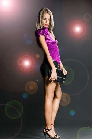 beautiful woman with black bag Stock Photo - 3937907