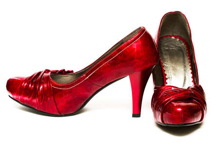 red womanish shoes isolated on white background Stock Photo - 3952690