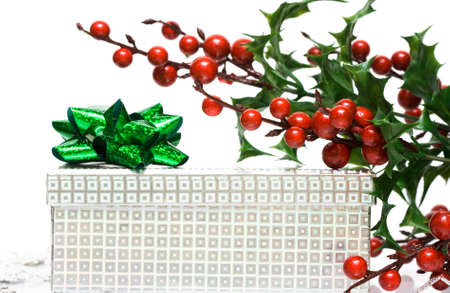 gift box with european holly  photo