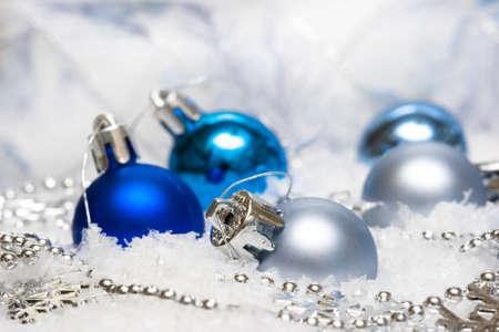 blue festive decoration on snow Stock Photo - 3952728