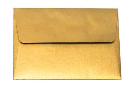gold envelope isolated on white background  photo