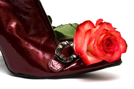 shoes with rose isolated on white background  Stock Photo - 4112090